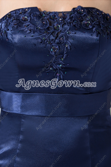 Modest A-line Dark Navy Satin Prom Party Dress