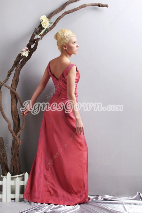 Plunge Neckline A-line Magenta Formal Evening Dress V-Back