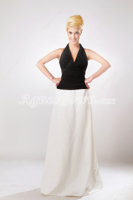 Exquisite Halter Black And White Mother of The Bride Dress