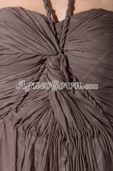 Stunning Halter A-line Brown Chiffon Prom Party Dress