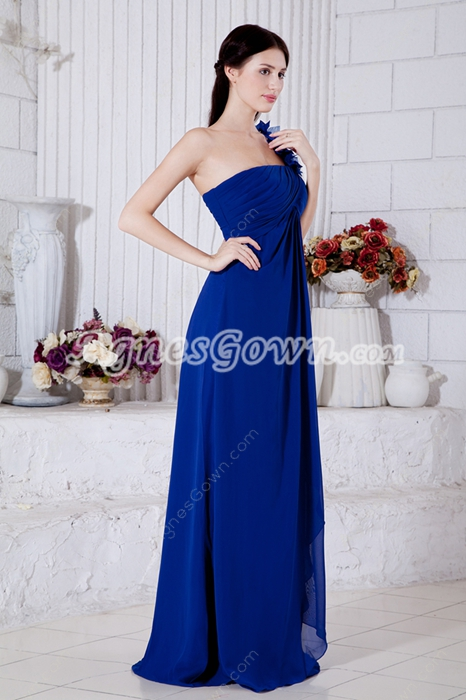 Decent One Straps A-line Royal Blue Chiffon College Graduation Dress