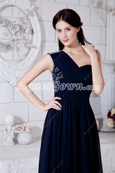 Charming One Straps Column Full Length Dark Navy Prom Dress