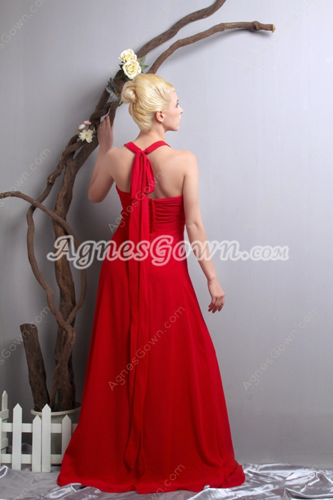 Exclusive Halter A-line Red Chiffon Military Ball Dress