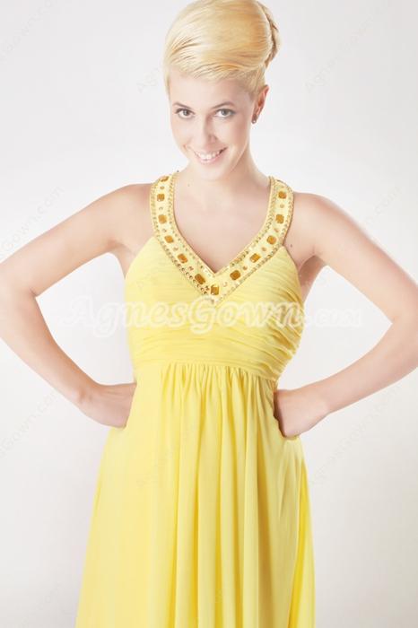 Pretty V-Neckline A-line Daffodil Chiffon Formal Evening Dress