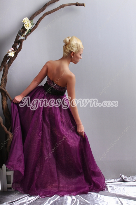 Stunning Grape Colored Princess Quince Dress With Beads