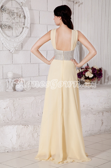 Jewel Neckline Yellow Chiffon Engagement Evening Dress With Beaded Sash