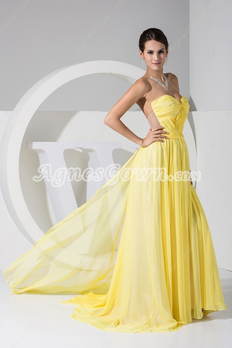 Beautiful A-line Full Length Yellow Formal Evening Dress
