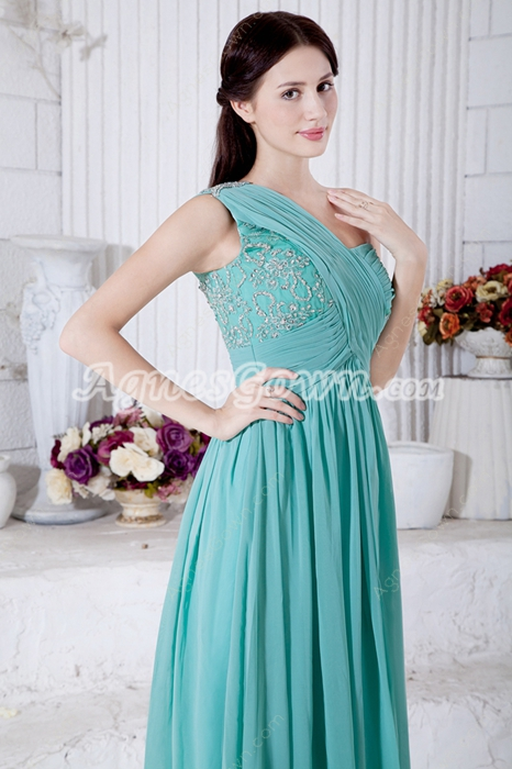 Breathtaking One Straps Jade Green Chiffon Engagement Evening Dress