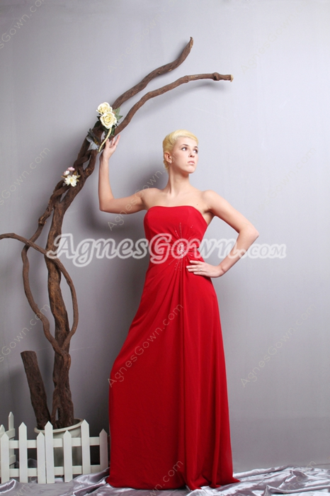 Column A-line Red Chiffon College Graduation Dress