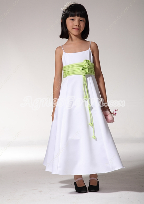 White And Lime Green Girls Pageant Dress
