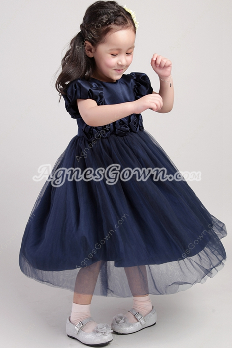 Short Sleeves Dark Navy Flower Girl Dress