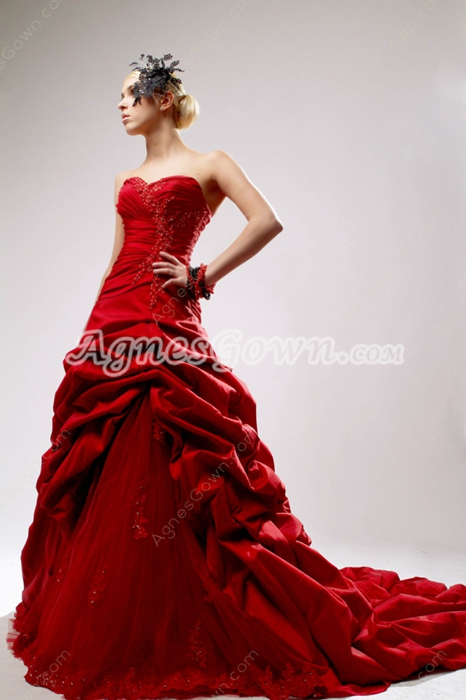 Vintage Red Mature Wedding Dress