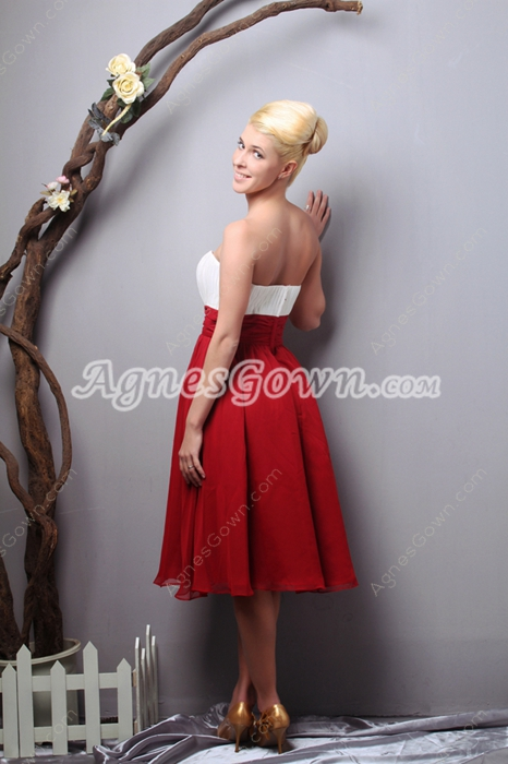 Multi-Colored White & Red Knee Length Junior Prom Dress