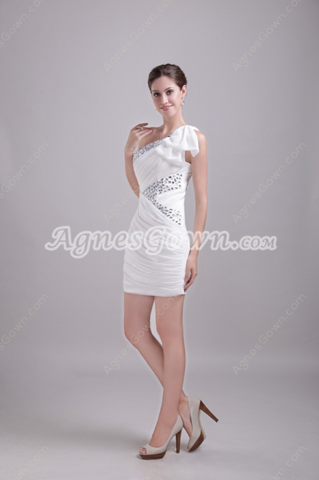One Shoulder White Homecoming Dress With Diamonds