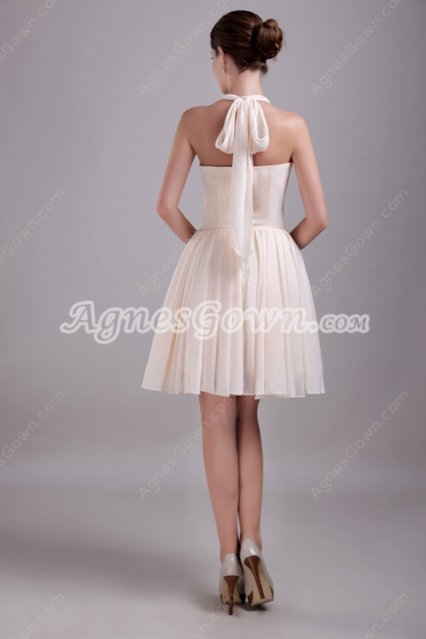 Lovely Mini Length Champagne Halter Homecoming Dress