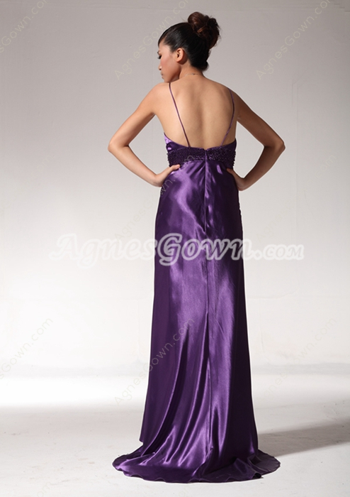 Graceful Full Length Purple College Graduation Dress