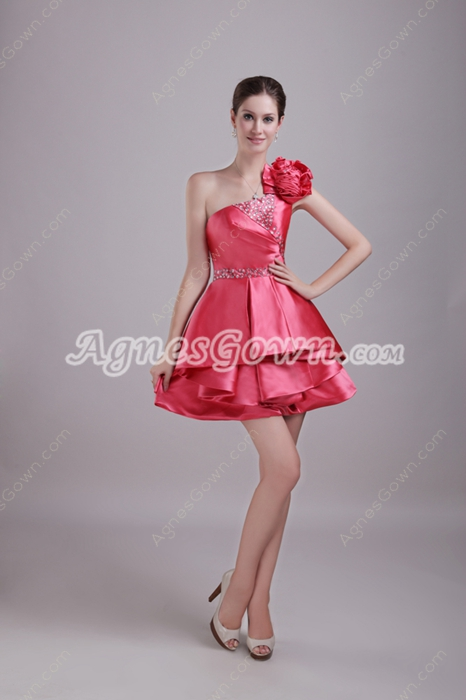 Cute One Straps Mini Length Watermelon Satin Sweet Sixteen Dress