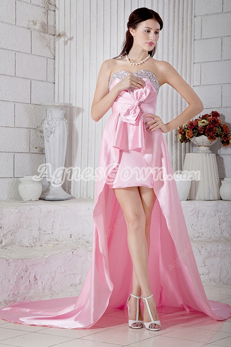 Sassy Sweetheart Pink High Low Junior Prom Dress