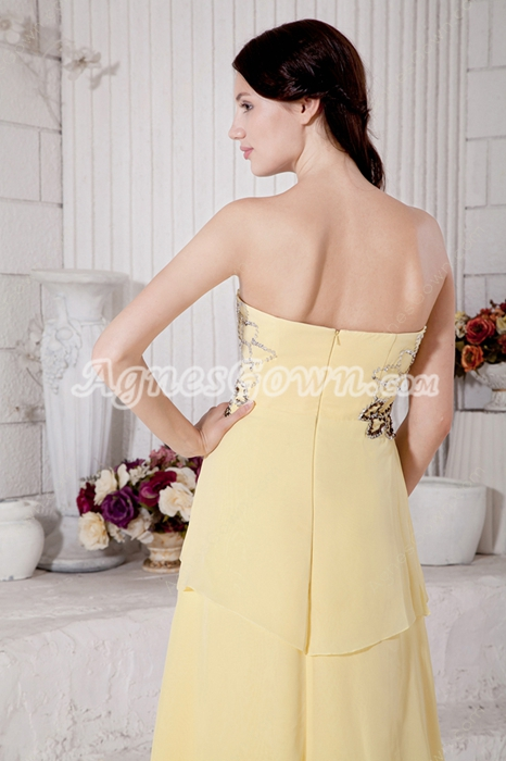 Special Yellow Chiffon High Low Prom Dress With Beads