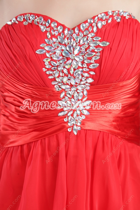Sweetheart Red Chiffon High Low Prom Dress