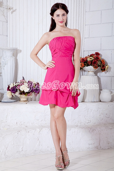 Beautiful Mini Length Fuchsia Junior Prom Dress