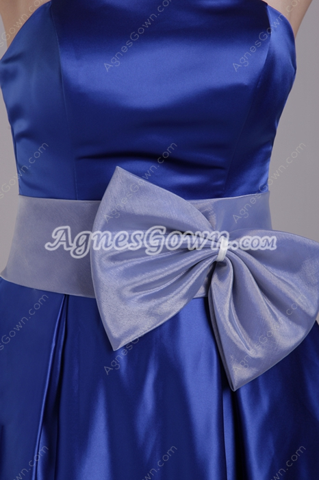 Knee Length Royal Blue Satin Graduation Dress With Bowknot