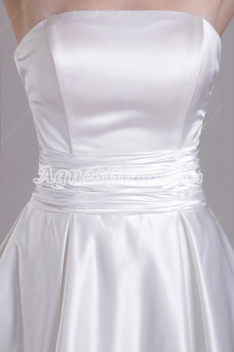 Knee Length White Satin Prom Party Dress