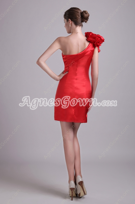 One Shoulder Mini Length Red Satin Cocktail Dress