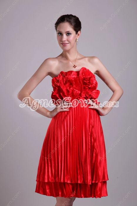 Knee Length Red Homecoming Dress With Ruffles