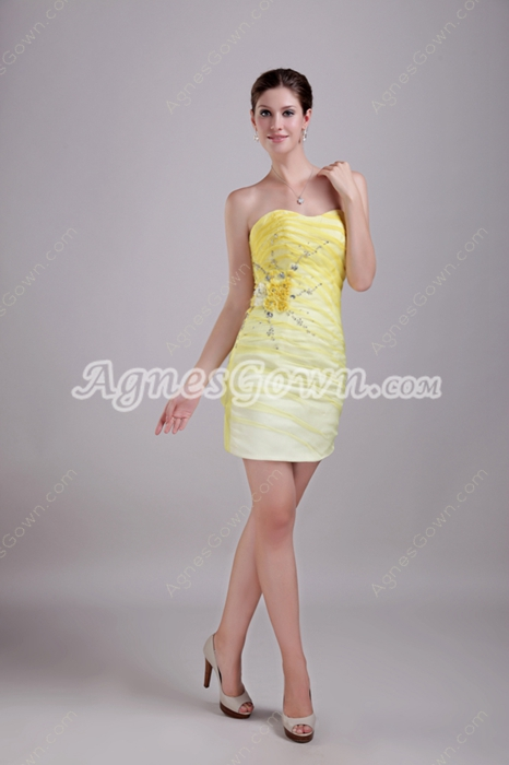 Lovely Mini Length Yellow Cocktail Dress With Crystals