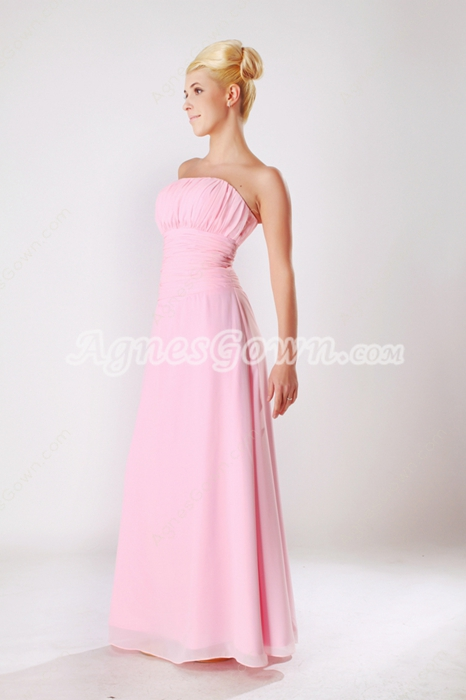 Straight Full Length Pink Chiffon Bridesmaid Dress