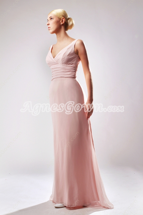 Noble V-Neckline Column Pink Bridesmaid Dress
