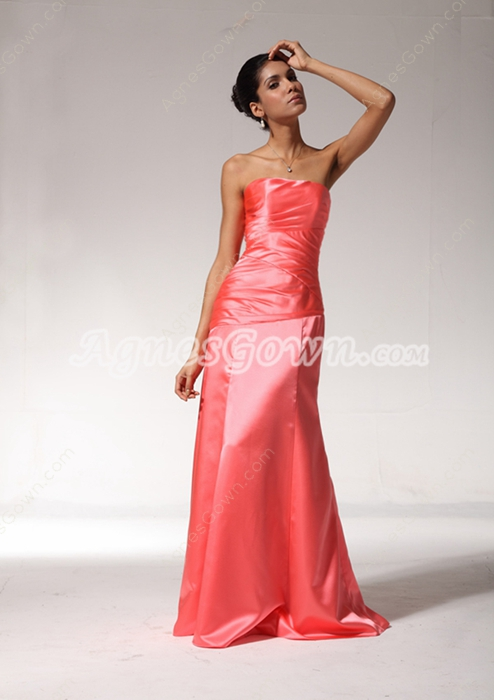 A-line Watermelon Satin Formal Bridesmaid Dress