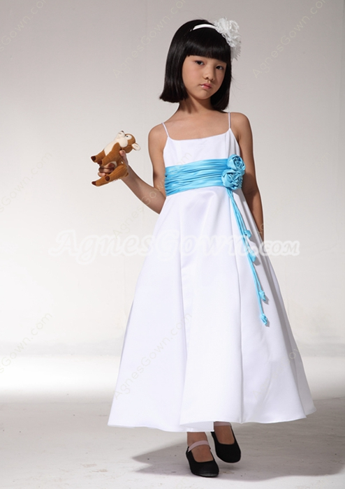Spaghetti Straps White And Blue Little Girls Pageant Dress