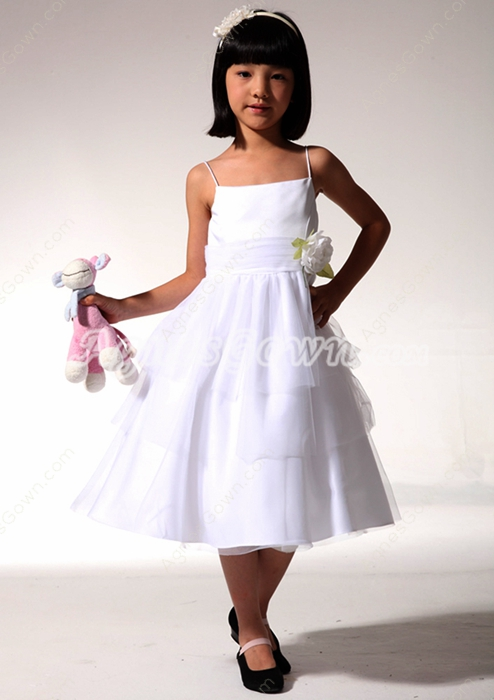 Cute Spaghetti Straps Tea Length Flower Girl Dress