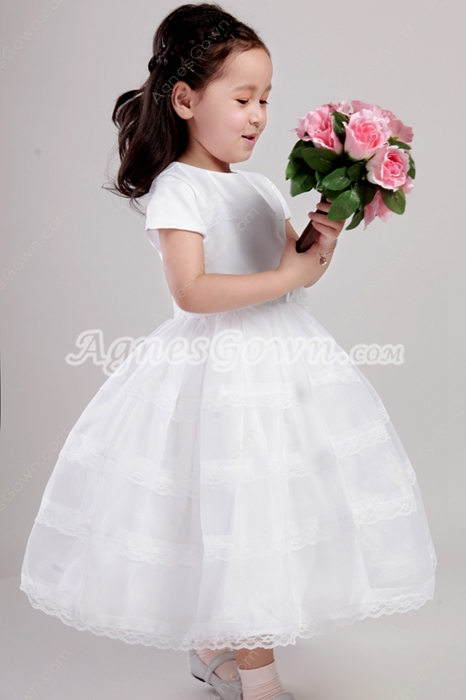 Short Sleeves Jewel Neckline Toddler Girl Dress