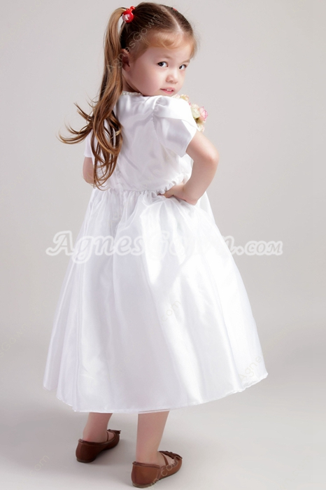 Short Sleeves Tea Length White Flower Girl Dress