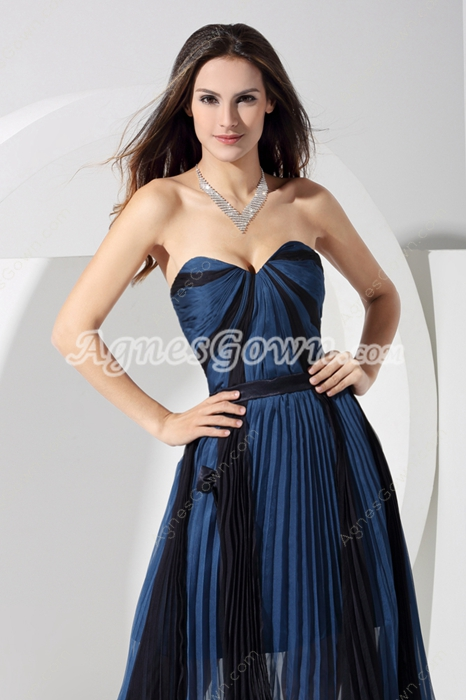 Tea Length Dark Navy And Black Junior Prom Dress