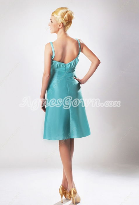Scoop Neckline Knee Length Jade Green Wedding Guest Dress
