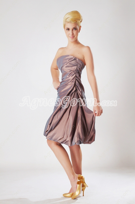 Knee Length Brown Taffeta Junior Prom Dress
