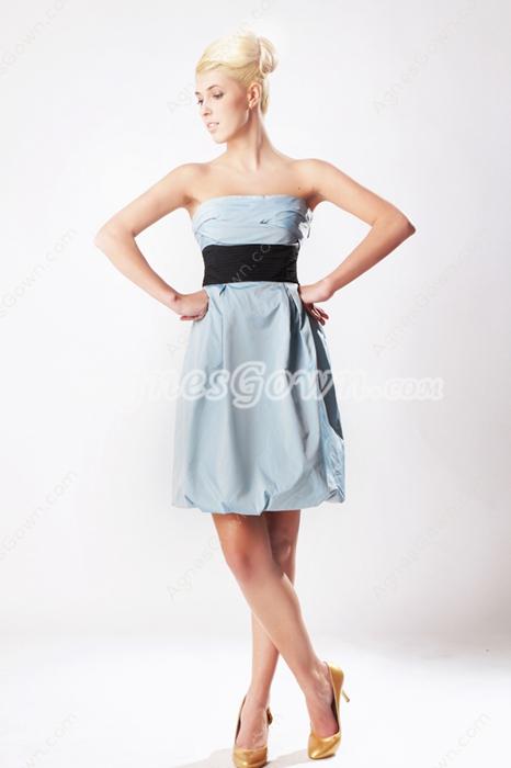 Mini Length Blue Graduation Dress With Black Sash