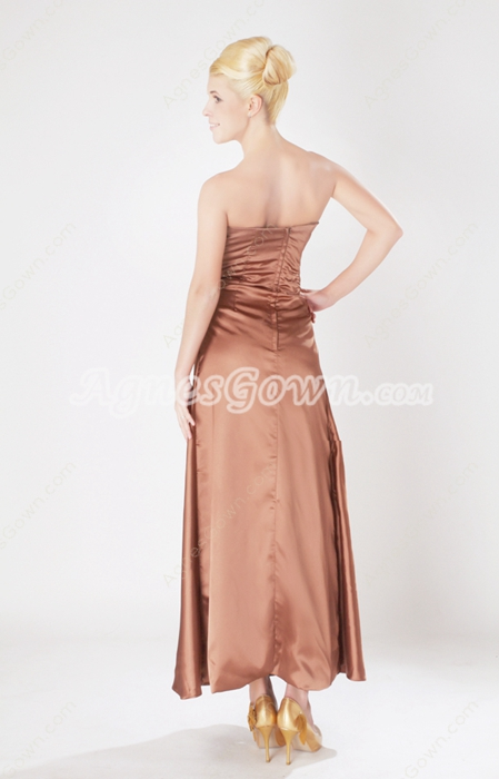 Ankle Length Brown Satin High School Graduation Dress