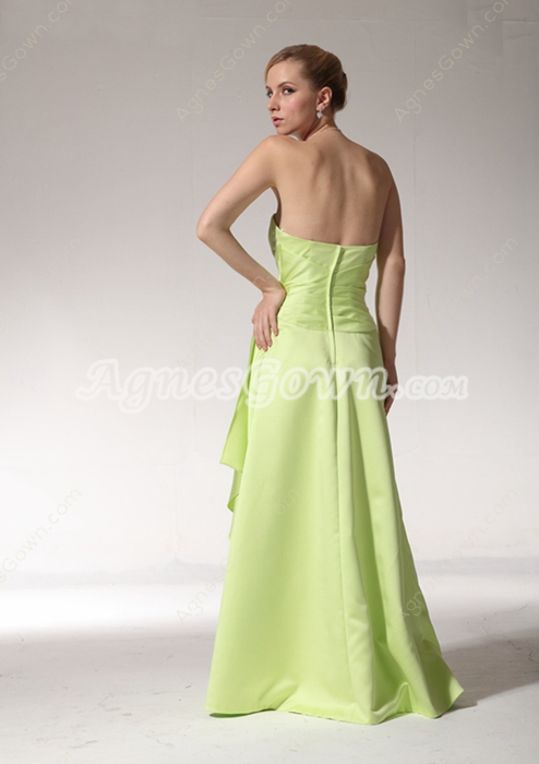 Lovely A-line Full Length Lime Green Satin Bridesmaid Dress