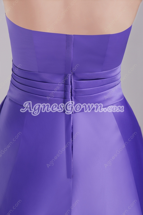 Knee Length Violet Satin Junior Bridesmaid Dress
