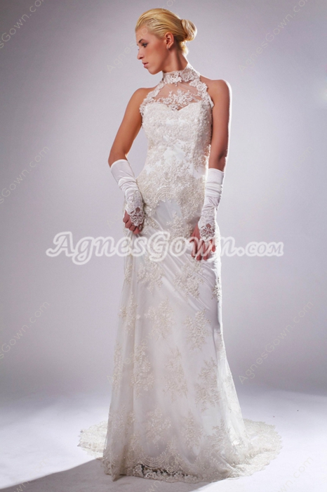 Casual Halter Column Lace Wedding Dress Bush Train