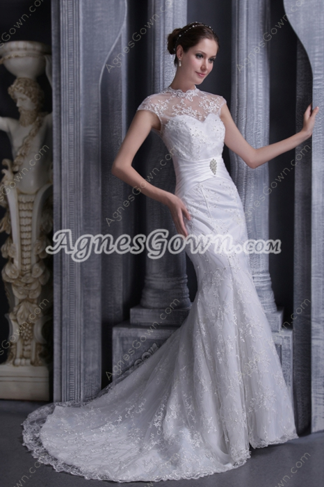 High Collar Cap Sleeves A-line Lace Wedding Dress