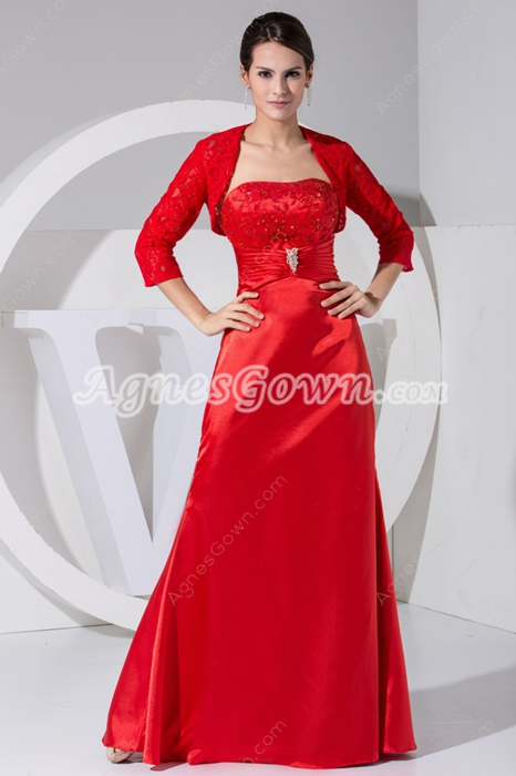 Red Satin Mother Dress With 3/4 Sleeve Jacket