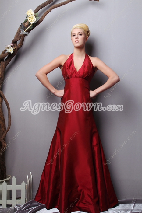 Charming Halter Burgundy Taffeta Prom Dress 2016