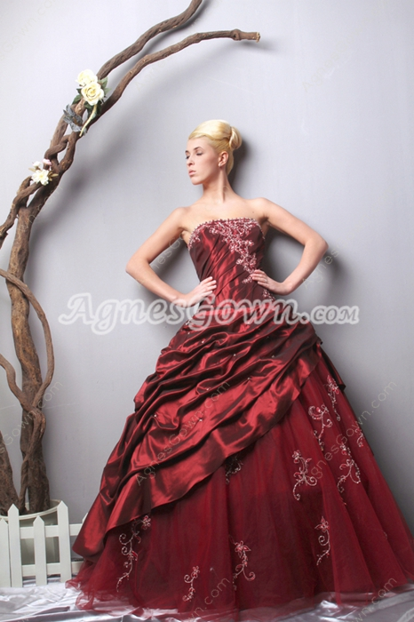 Impressive Burgundy Quinceanera Dress With Lace Appliques