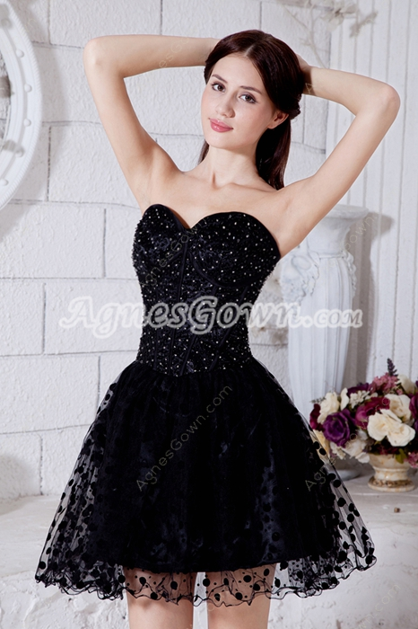 Chic Black Puffy Mini Length Black Damas Dress